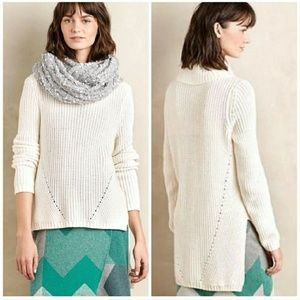 Anthro Moth High Low Chunky Knit Turtleneck